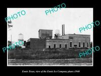 OLD LARGE HISTORIC PHOTO OF ENNIS TEXAS, THE ENNIS ICE COMPANY PLANT c1940
