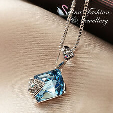 18K White Gold GF Made With Swarovski Element Irregular Cut Aquamarine Necklace