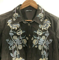 J.Jill Women's Size S Long Sleeve Corduroy Brown Embroidered Front Button Shirt