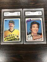 Rick Rhoden 1980 Topps 92, 1985 Topps 695, GMA 7.5 NM+ Pittsburgh Pirates
