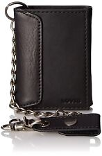 NEW LEVI'S PREMIUM LEATHER TRIFOLD ID CREDIT CARD CHAIN WALLET BLACK 31LV1194