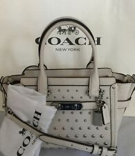 COACH 57696 Swagger 21 Ombre Rivets Chalk Pebble Leather Handbag NWT MSRP $395