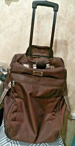 Used Once JM New York Soft Sided large Canvas / Nylon Travel Dark Brown Luggage