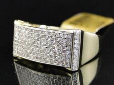 Mens Yellow Gold Round Cut White Diamond Pave Designer Band Ring .75 Ct