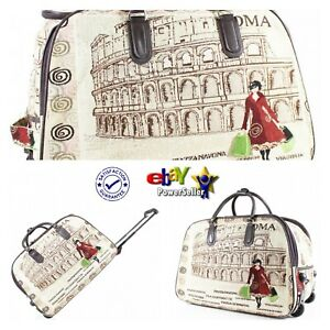 New Stylish Rome Colosseum Print Travel Bag Wheely Holdall Holiday Weekend Bag