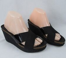 Donald J Pliner 8 M Black Slides Wicker Wedge Heels