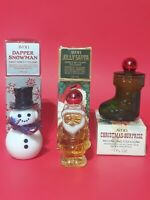 Lot Of 3 Vintage 1978 AVON Christmas Themed Perfume Cologne Decanters Bottles