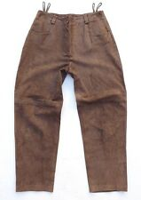 Brown 100% Real Suede COUNTRY LINE High Waist Ladies Jeans Size W34 L29 Festival