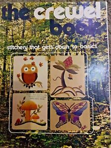 Vintage The Crewel Pattern Book Stitchery Embroidery 1971 Flowers Owl Butterfly