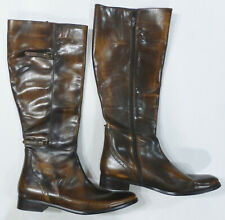"""VALERIE STEVENS """"Randolph"""" Leather Riding Boots, Brown, Size 9 1/2 M"""