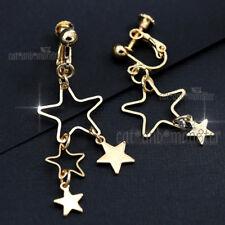 18K Gold Gf Star Charm Drops Pentagram Lady Girls Clip On Dress Dangle Earrings