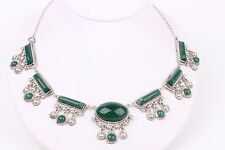 MEXICO STERLING SILVER NECKLACE WITH BEADING AND GREEN STONES #2625