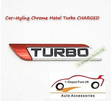 TURBO Car-Styling Chrome Metal Turbo CHARGED Red Fender Emblems Decorations