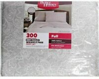 Gray 300 Thread Count FULL Sheet Set Paisley Grey White Better Homes 100% Cotton