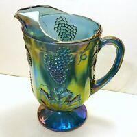 Vintage INDIANA Carnival Glass Iridescent Blue HARVEST GRAPE Pitcher Large 11 in