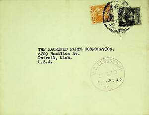 MEXICO 2v ON COVER W/ US CENSORSHIP CACHET TO DETROIT MICH USA