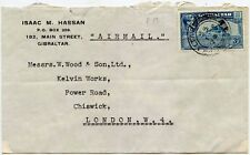 GIBRALTAR 1949 PRINTED ENVELOPE ISAAC HASSAN 3d SINGLE FRANKING to CHISWICK GB