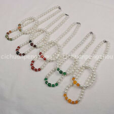 Multicolor 8-10mm Jade & White Shell Pearl Round Beads Necklace Bracelet Set AAA