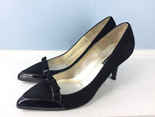Claudia Ciuti 8 Black Leather Pointed Toe Heels Career Cocktail Excellent bow