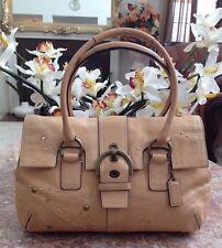 COACH Swarovski Crystal Studded Satchel Tan Leather Handbag 8A31 EUC!
