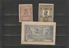 Romania, 3 early currency 25, 50 bani and 2 lei latter circ, former superb(A157)