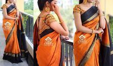 Indian Bollywood Ethnic Designer Saffron Bhagalpuri Saree Party Wear Black Sari