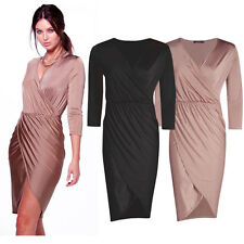 Calf Length V Neck Long Sleeve Dresses for Women
