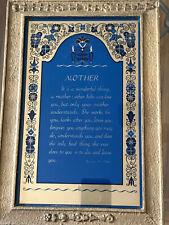 """Antique """"Mother� Plaque W Poem"""