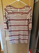 Pink Blush Red Striped Maternity Top - 3/4 Sleeves - Size Small