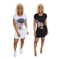 Stylish Women's Short Sleeves Cool Girls Print Summer Casual Short T-Shirt Dress