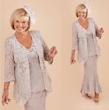 Silver Lace Mother of the Bride Dress with Jacket Plus Size 3/4 Sleeves 3 Pieces
