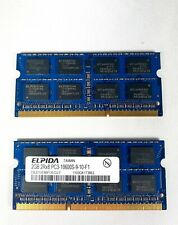 Pair of 2GB DDR3 2Rx8PC3-10600S-9-10-F1 Elpida SODIMM Laptop Computer RAM