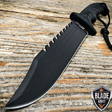 "13"" BLACK TACTICAL SURVIVAL Rambo Hunting FIXED BLADE KNIFE Army Bowie w/ SHEATH"