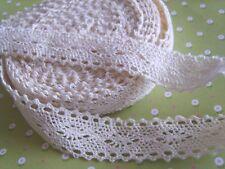 "1M x Natural Cotton Lace Vintage Ribbon Trim Craft Sewing 22MM (7/8"") *UK*"