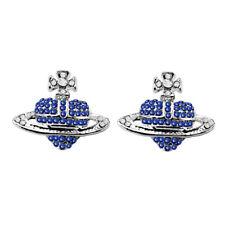 Silver Tone Royal Blue Rhinestones Orb Stud Earrings Saturn Heart Cross E1403