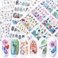 84pcs Water Transfer Nail Art Stickers Set Leaf Flower Animals Geometry Art