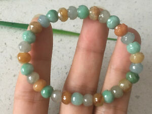 Certified Green Natural A JADE JADEITE Hand Carved Flower Bead 7m Bracelet 0209