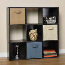 Black 9 Cube Wooden Bookcase Shelving Display Shelves Storage Unit Wood Shelf