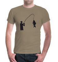 Herren Unisex Kurzarm T-Shirt Angeln V1 Angelsport Angler Fisch Angel