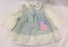 Vintage Blue Floral Baby Dress or Top size 12 Months Embroidered Chick