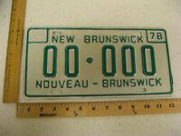 1978 78 NEW BRUNSWICK NB CANADA SAMPLE LICENSE PLATE #00-000