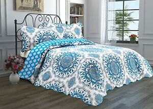 Chiara Rose 3 Piece Reversible Quilt SetBedspread Coverlet Lightweight Comforter