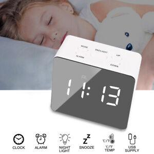 Mirror LED Alarm Clock Night Light Digital Clock Thermometer + USB Charging