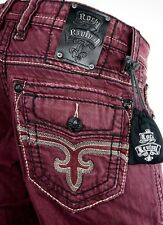 "$220 Mens Rock Revival Jeans ""Pierre"" Burgundy Wine Leather Straight Leg 32 X 32"