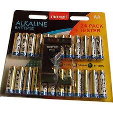 Pack de 24 aa piles maxell alcaline & testeur 15AU LR6 MN1500 expiration 2019