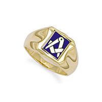 Jewelco London Mens 9ct Gold Enamel Swivel Centre Rectangular Masonic Ring