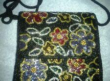Carla Marchi Black Beaded Purse Multi-Color Floral Design