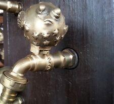 Brass Garden Tap Faucet PUFFER Spigot Vintage Fish Home Yard Decor Water Outdoor