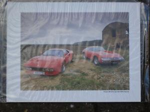 Mounted Photo Print Picture - Ferrari 288GTO and 365GTB/4 Daytona