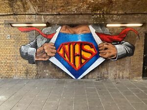 Banksy Style NHS Hero's  Canvas Print Wall Art Picture Size 16x20 Inch 18mm